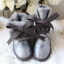 купить G&Zaco Women Wool Boots Genuine Sheepskin Snow Boots Black Leather Winter Lace Boots Waterproof Female Flat Warm Shoes дешево