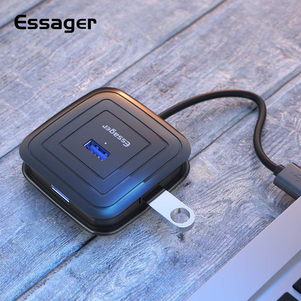 Essager High Speed <font><b>4</b></font> <font><b>Ports</b></font> <font><b>USB</b></font> 3.0 <font><b>HUB</b></font> Dock For MacBook Surface Pro Multiple <font><b>USB</b></font> 2.0 Splitter OTG Adapter <font><b>USB</b></font> <font><b>HUB</b></font> With Power image