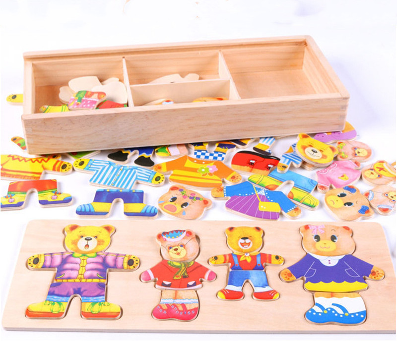 Baby Puzzles Toys Wooden Box Educational Toy Little Bear Changing Clothes Wooden Puzzle Set Kids Children's Wooden Toy Gift(China)
