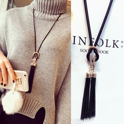 Explosion Models Korean Fashion Long Knotted Tassel Sweater Chain Elegant Personality Wild Hanging Chain Accessories Wholesale