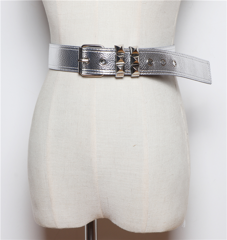 belt Ladies Women Waist Belts  Leather Girdle Rivet Waistband Metal Buckle