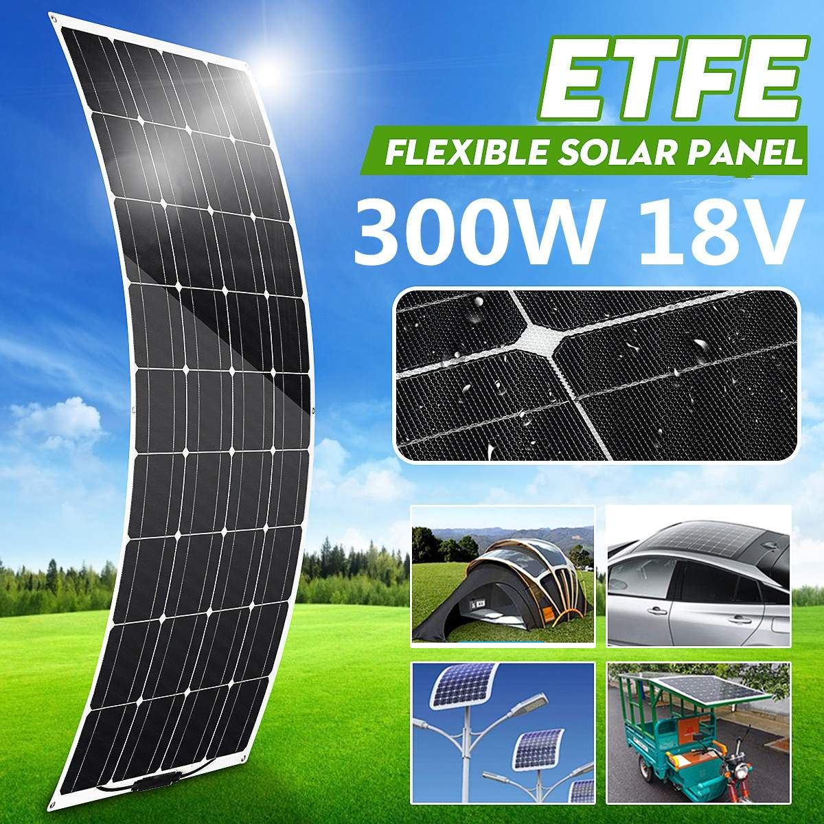 <font><b>300W</b></font> Semi-flexible <font><b>Solar</b></font> <font><b>Panel</b></font> 18V Monocrystalline <font><b>Solar</b></font> Cell DIY Module Cable Outdoor Connector Battery Charger Waterproof image