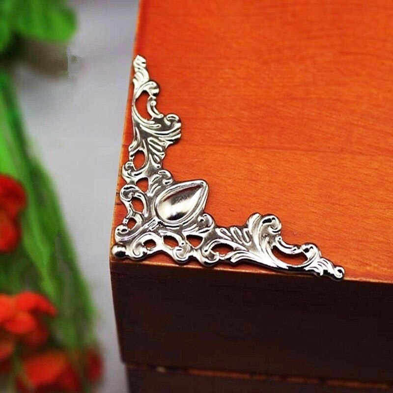 Kalaso 20 pçs prata bronze ouro antigo caso de madeira caixa de jóias livro álbum foto canto decoração protetor