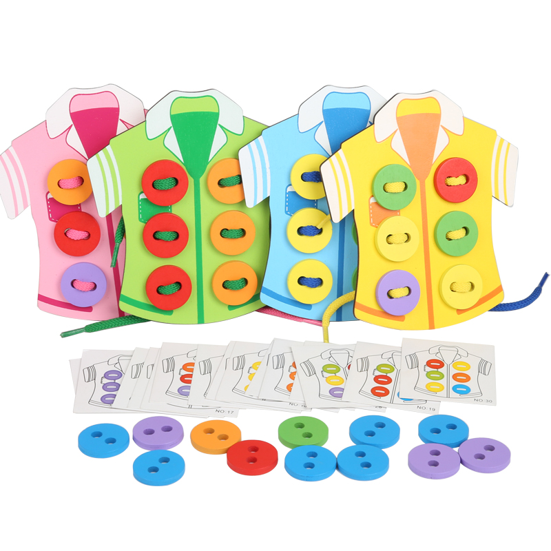 Montessori Wooden Toys Clothes Wear Button Toys Early Childhood Education Thread Sewing Button Board Game Hand-eye Coordination