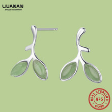 925 sterling silver green leaves earrings Mothers day gift for women korean piercing fashion earrings for teens gift and Jewelry