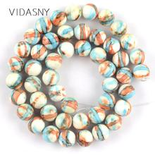 Natural Blue Orange Red Stripe Rain Flower Stone Beads For Jewelry Making 4 6 8 10 12mm Loose Diy Bracelet Necklace 15