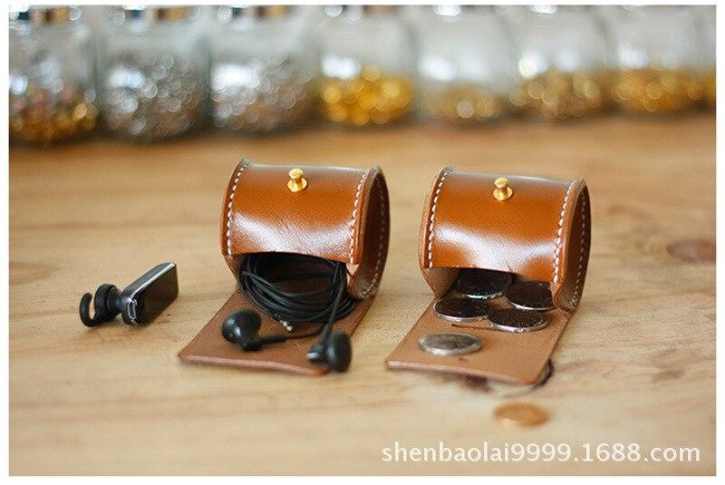 Handmade Genuine Leather Cylinder Purse Horse Leather Savings Bank
