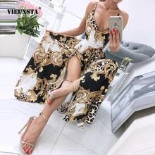 New Women Summer Bohemian Elegant Party Maxi Dress Sexy Spaghetti Strap V Neck Dress Ladies Vintage Leopard Floral Print Dresses