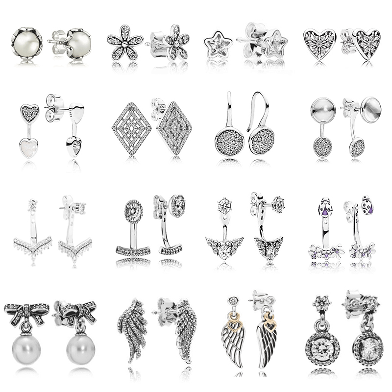 Original 100% 925 Sterling Silver Pandoras Earring With Crystal Luxury Earrings For Women Fairy Zircon Feather Pentagram Studs
