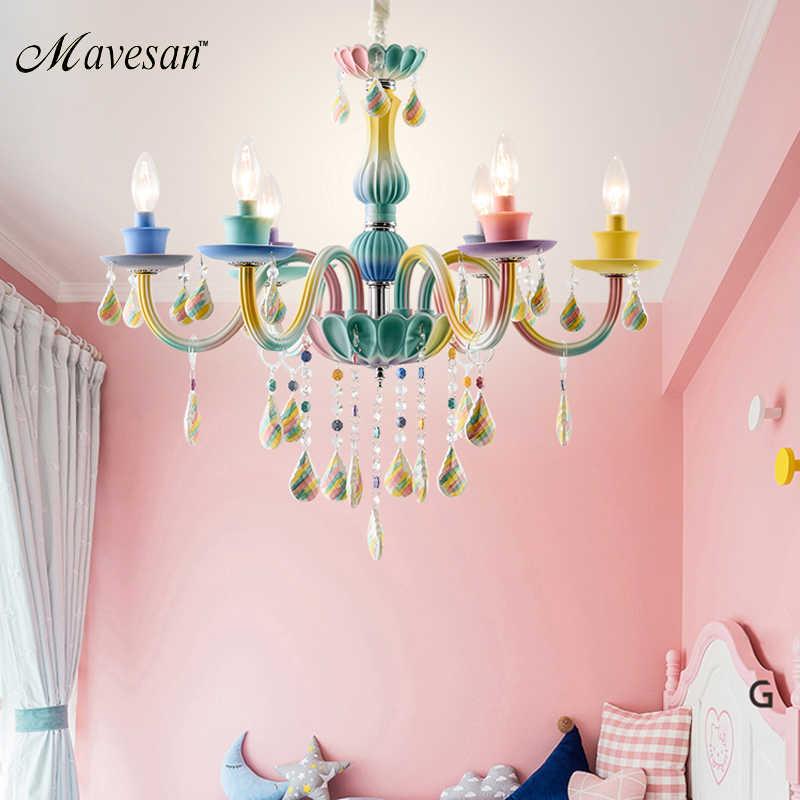 Макарон люстра со стразами гостиной спальня столовая лампа детская комната Комната принцессы для девочек украшение лампы световые