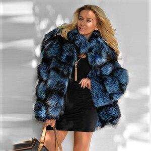 Image 2 - 2020 zimowa damska kurtka z prawdziwego futra lisów ze stójką z prawdziwej skóry naturalne srebrne futra lisa kurtka wysokiej jakości futrzany płaszcz