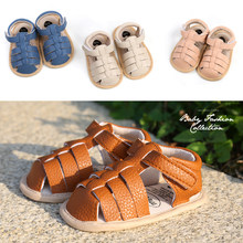 Rome Style Soft Leather Breathable Baby Sandals Shoes Toddlers Non-slip Summer First Walkers Girl Boys 0-18M Newborns Prewalkers