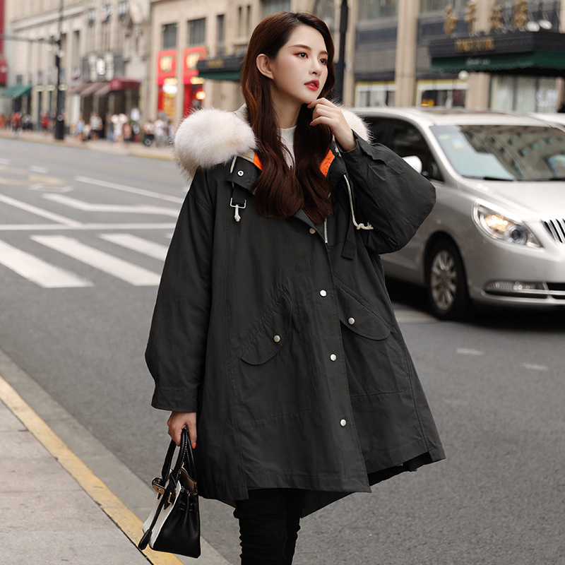 Winter Coat Women White Duck Down Jacket Women Warm Parka Big Fur Collar Down Coat Oversized Puffer Jacket Casaco YY1407