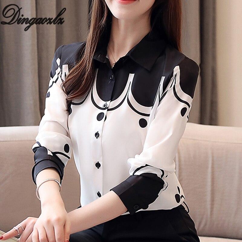 Dingaozlz Autumn 2019 New Printed Shirt Long Sleeve Profession OL Tops Turn Down Collar Chiffon Blouse Blusa Feminina