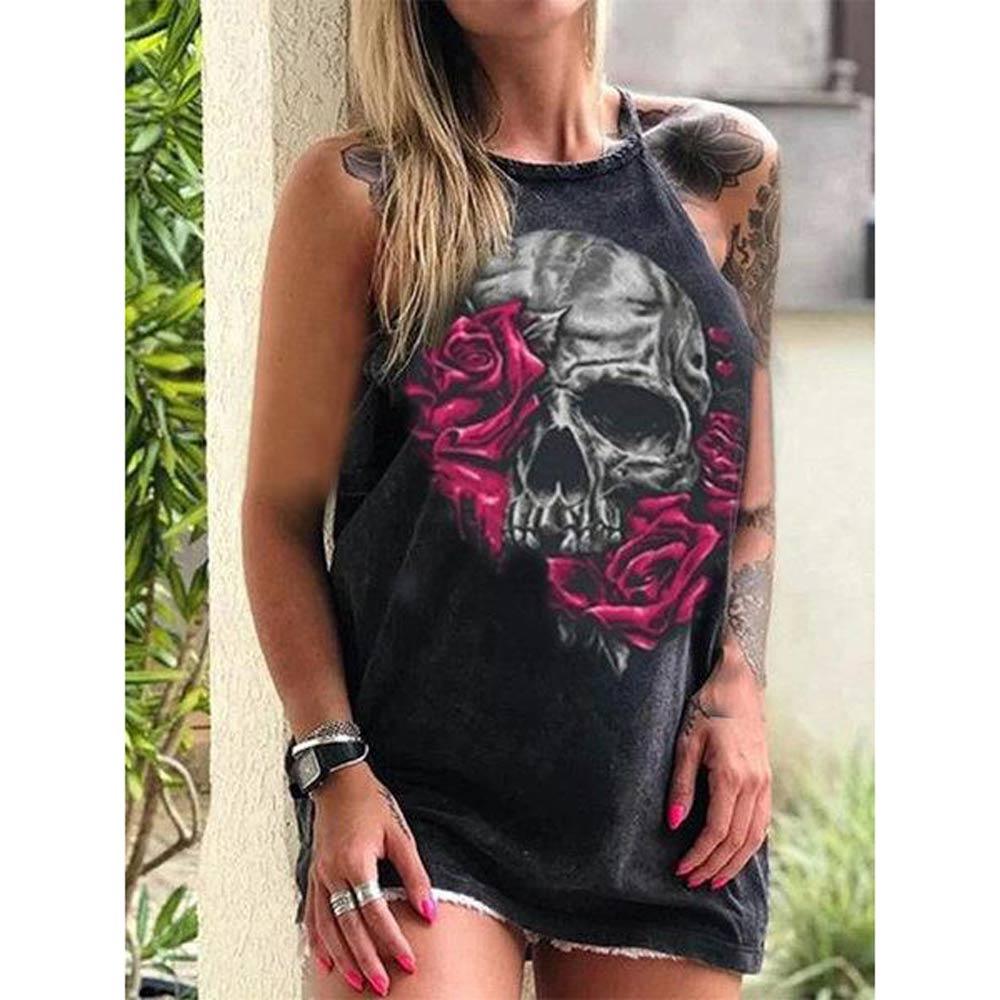 Summer Dresses Women Punk Style Loose Halter Neck Sleeveless Skull Print Female Shirt Dress Street Side High Split Flower Print 12