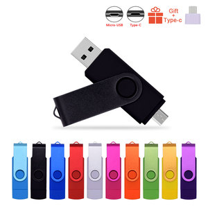 High Speed Pendrives OTG USB 2.0 PC&Smartphone Flash Drive 8GB 16GB 32GB 64GB Metal Customize LOGO Memory Stick(10pcs Free Logo)