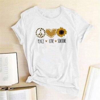 Camiseta con estampado de letras de la paz Love Sunshine, ropa de verano para Mujer, camiseta gráfica informal, Camisetas estéticas para Mujer