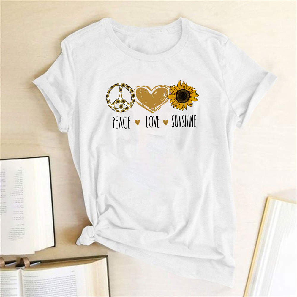 Peace Love Sunshine Letter Print T-shirts Women T Shirt Summer Clothes For Women Casual Graphic Tshirt Aesthetic Camisetas Mujer