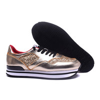 Hogan 2020 Women's Fashion Genuine Leather Outdoor Bling Heighten Shoes Athletics Sneaker Women Casual Sports Vulcanized Shoes