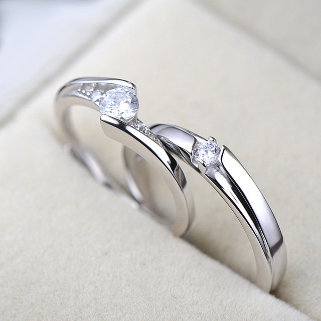 UFOORO S925 Sterling Silver Clear Round Zirrcon Ring Valentine's Day Gift Couple Ring Set For Woman Wedding Engagement Jewelry 2