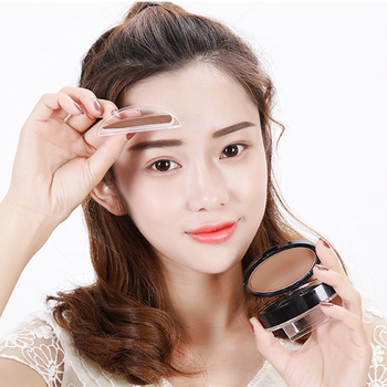 9 Optional Lazy Eyebrow Stamp Quick Makeup Eye Brow Stamps Powder Pallette Natural Easy To Wear Gray Brown Eyebrows Powder Seal 2