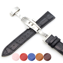Genuine Leather Watch Straps 18mm20mm22mm24mm Universal Butterfly Buckle Steel Band Bracelet Bangle + Tool
