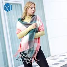 Miya Mona Winter Female Wool Warm Scarf Vintage Plaid Women Cashmere Scarves Luxury Lattice Long Shawl Wrap Stole Fashion 2019(China)