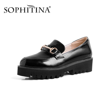 SOPHITINA Thick Bottom Women's Flats Fashion Metal Decoration High Quality Patent Leather Shoes Leisure Comfortable Flats PO351