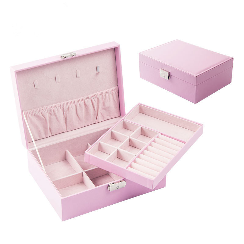 Korean Version  Leather Jewelry Storage Box Double Large Capacity Jewelry Box Girls Fashion Jewelry Collection Box Ring Casket