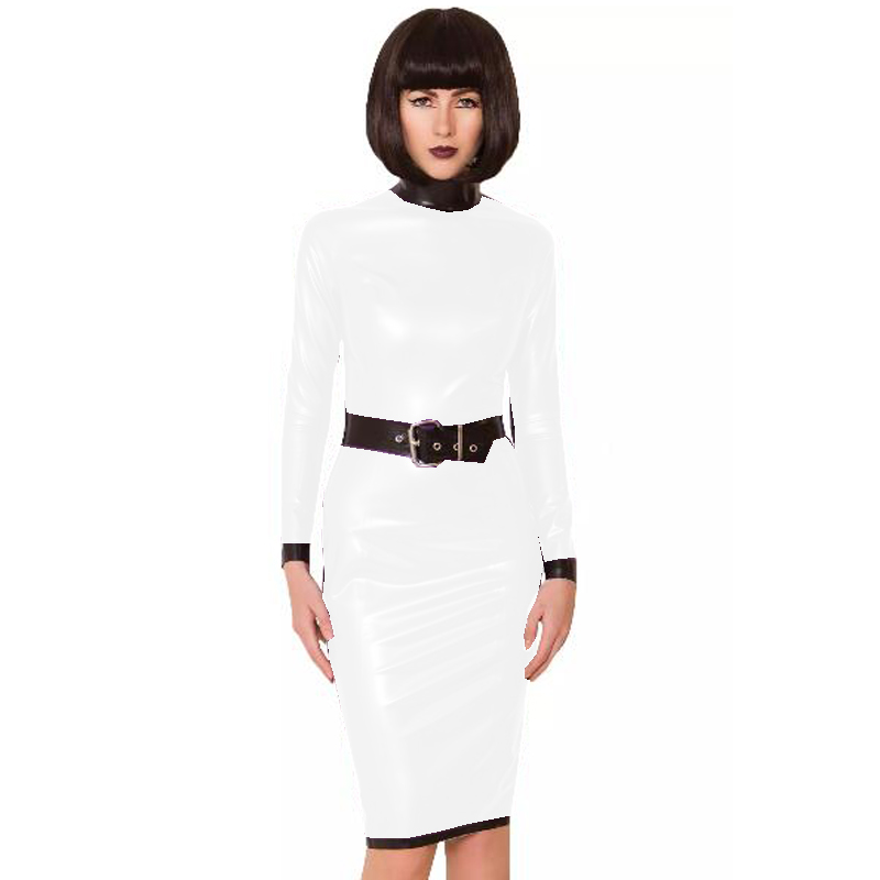 24 Colors Back Zipper Long Sleeve Knee Length Dress Lady Slim Vestido Fashion Patchwork Color Midi Dress Sexy Stage PVC Clubwear 21
