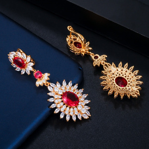 Image 3 - CWWZircons Yellow Gold Color Indian Red CZ Crystal Vintage Ethnic Bridal Long Big Wedding Earrings Jewelry for Women CZ301