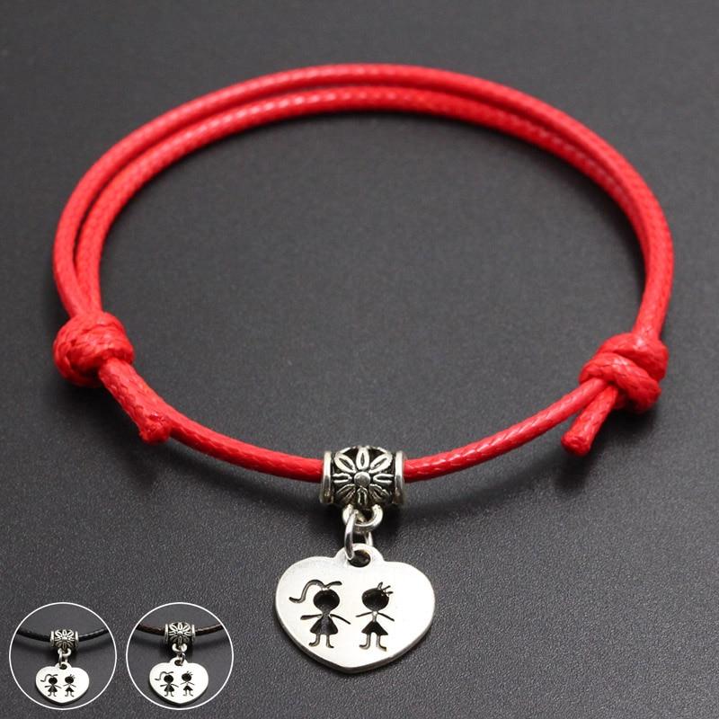 New Girl & Boy Pendant Red Thread String Bracelet Lucky Handmade Rope Charm Bracelet for Women Men Lover Couple Jewelry