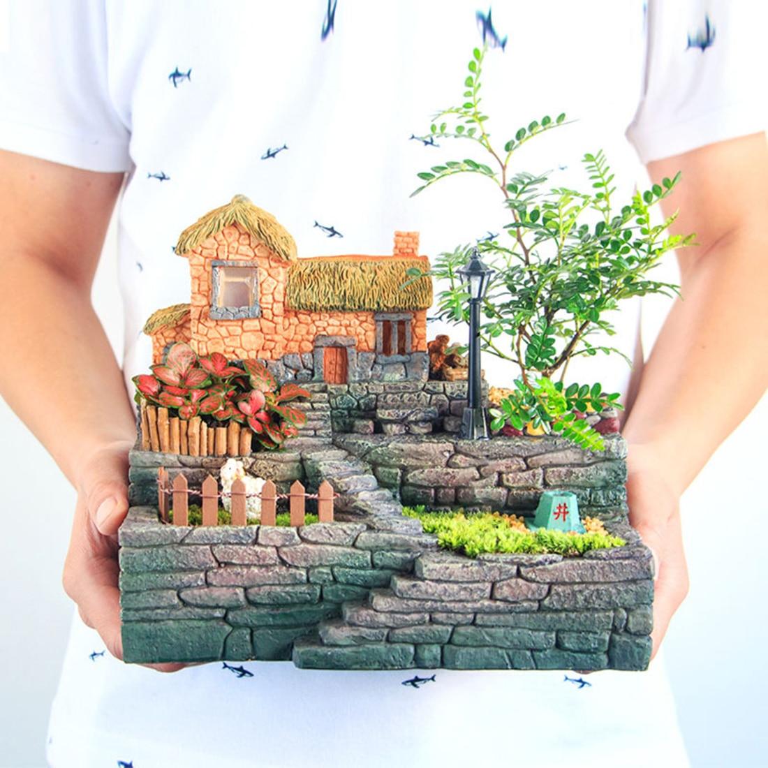 Creativo pastoral cama de flores de resina maceta suculenta caja bonsái lecho de planta con maceta de luz provincia - 3