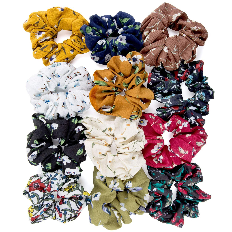 12Pcs Women Elastic Hair Bands Girl   Headwear   Solid Rubber Hair Ties Vintage Hair Scrunchies Stretchy Velvet Scrunchie Pack