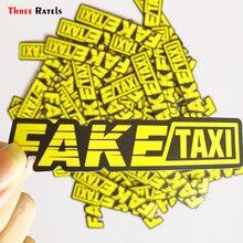 Três ratels 50 pçs amarelo falso logotipo do táxi pvc janela à prova dwaterproof água portátil tronco carro da motocicleta auto adesivo e decalques