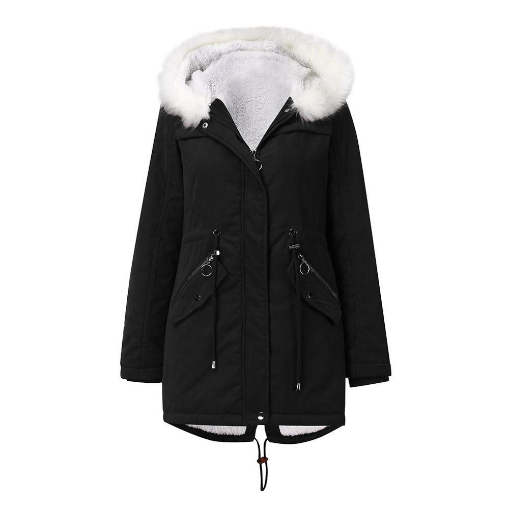 NXH à capuche coton hiver manteau fourrure doublure épaisse parka velours garder vêtements d'extérieur chauds femmes mode pardessus décontracté
