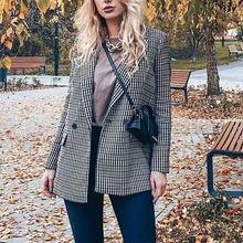 Женский Повседневный блейзер с карманами двубортный пиджак в