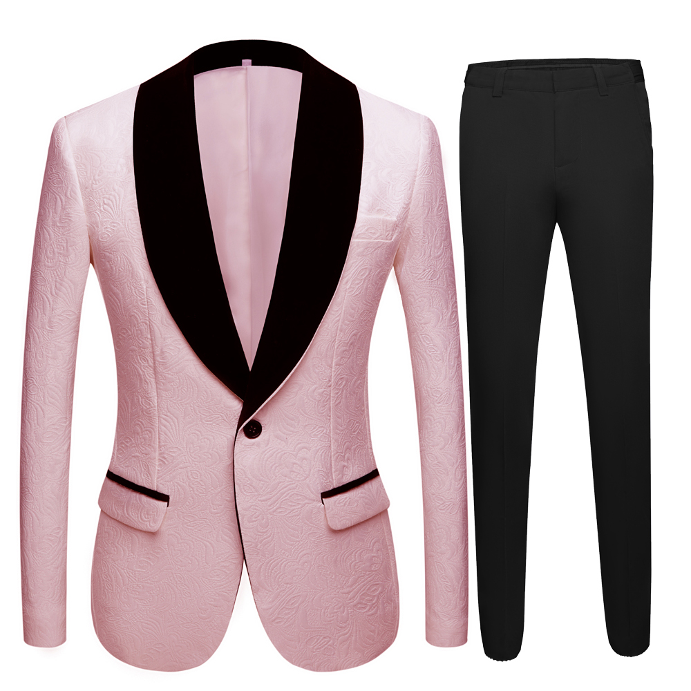 Mens Wedding Suits Smoking Tuxedo Jacket 2 Piece Groom Terno Suits For Men Plus Size Yellow Pink Blue Suits