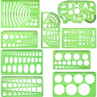 9 Pieces Drawings Templates Measuring Geometric Rulers Plastic Draft Rulers for School Office Supplies  Clear Green|  -