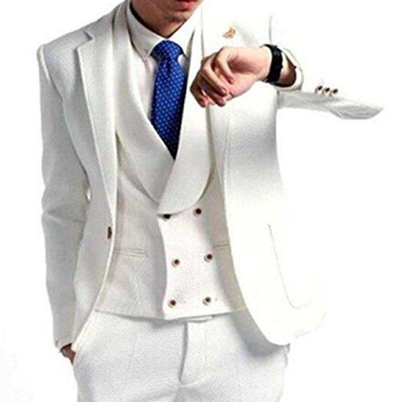 One Button Groomsmen Notch Lapel Men Suits Wedding/Prom/Dinner Best Man Blazer Groom Tuxedos (Jacket+Pants+Vest)