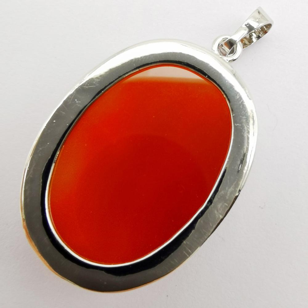Carnelian Gemstone Solid 925 Sterling Silver Pendant Necklace Jewelry P1863-2
