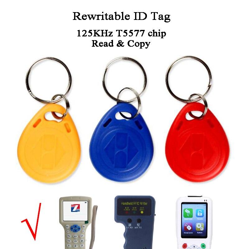 100pcs Rewritable ID Tag Copy Read 125KHZ RFID Copier Duplicator T5577 Intercom Keyfobs Waterproof Keychain Access Control