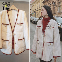 Tingfly Desinger Casual Style Tweed Winter Coat Lady Elegant Classic Plaid Pearl Button Overcoat Pocket Golden Thread Jackets