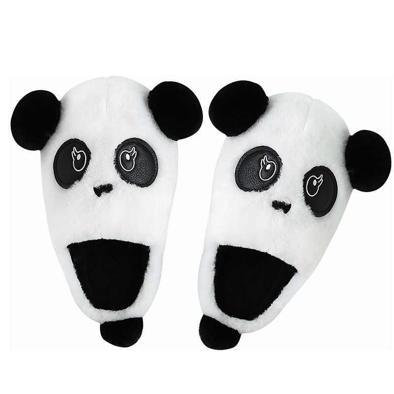 Inverno Delle Donne Degli Uomini Pantofole Cute Panda Animale Della Pelliccia A Casa Al Coperto Scarpa Femminile Della Ragazza slides Antiscivolo di Gomma Piuma di Memoria di Cotone Casa Pantofole