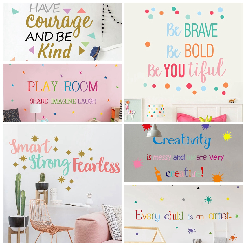 Tofok Colorful English Proverbs Wall Stickers Living Room School Classroom Wall Decoration Waterproof PVC Wall Decals Wallpaper