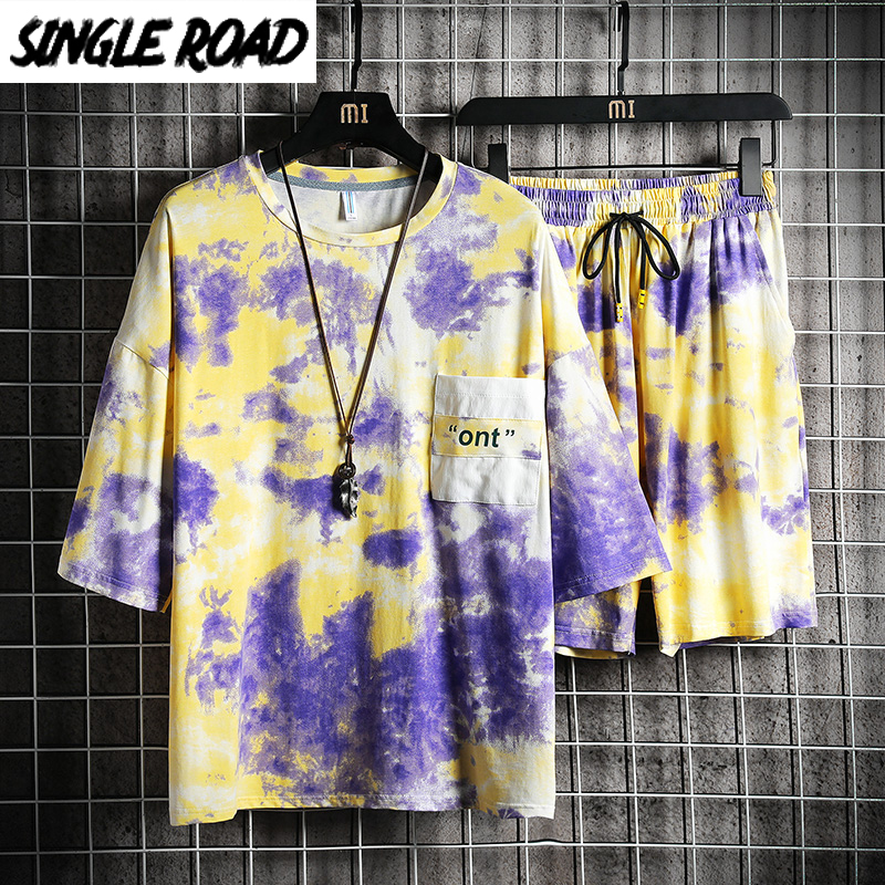 SingleRoad Men's Japanese Streetwear Sets Men 2020 Summer T-Shirt Shorts Men Tie Dye Hip Hop Punk Tracksuit Korean Clothes Male
