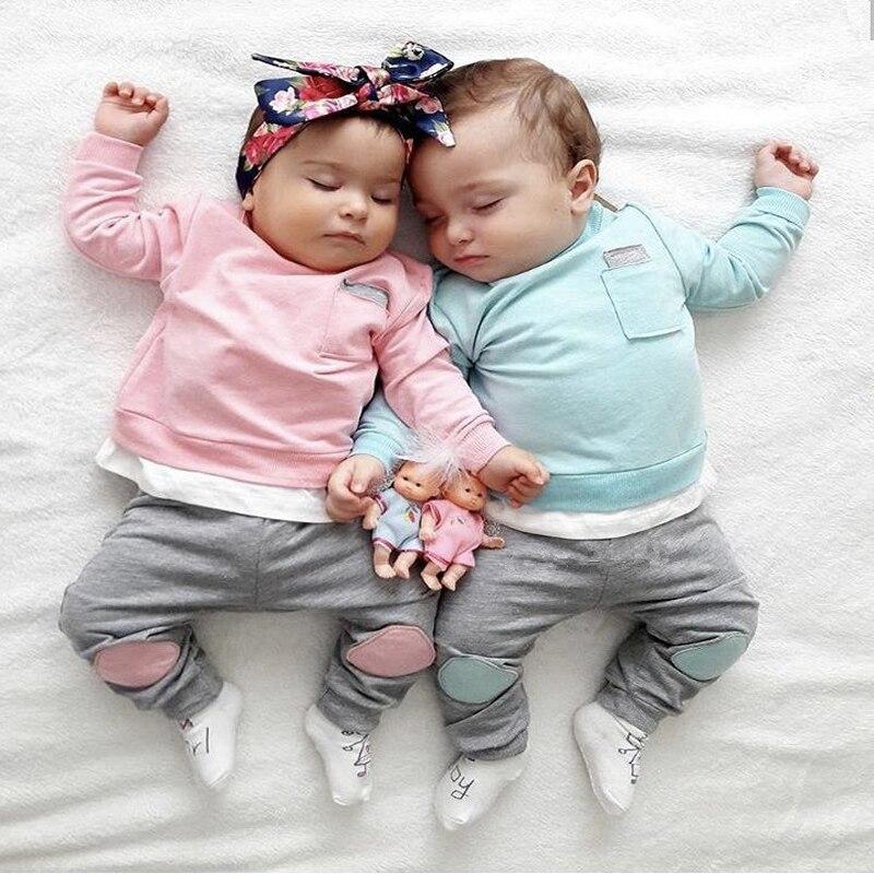 2020 sonbahar yürüyor bebek yenidoğan bebek erkek kız elbise seti pamuklu uzun kollutişört T gömlek + pantolon 2 adet giyim bebek kıyafetleri