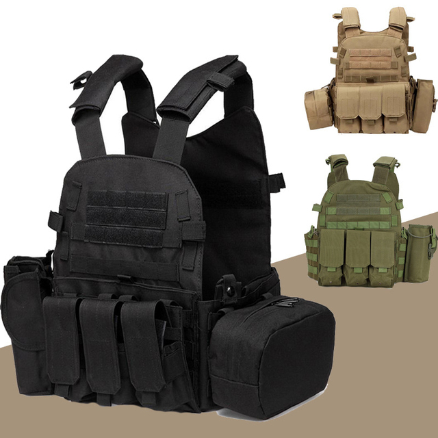 Tactical Vest Military Combat Body Armor Mens Army Hunting Vest Plate Carrier Airsoft 094K Pouch Combat Gear Outdoor CS Training 1