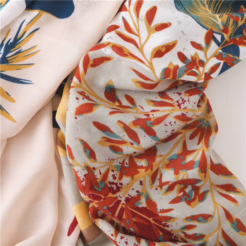 Image 5 - Large Size Summer Cotton Tassel Scarf Flower Pattern Sunscreen Large Shawl Silk Scarf Beach Towel for WomanWomens Scarves   -
