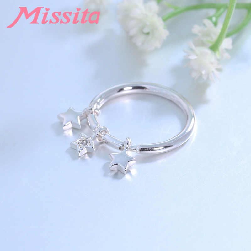 MISSITA 100% 2019 חדש אופנה כוכב תליון אצבע טבעות נשים כסף תכשיטי מותג קריסטל טבעת מתנת יום נישואים